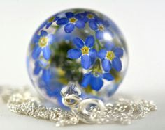 Forget-me-not Pendant Blue Flower Pendant Nots Resin by Caldesia