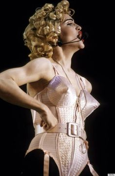 Madonna Blond Ambition Tour. Costumes including conical bra, by designer Jean Paul Gaultier