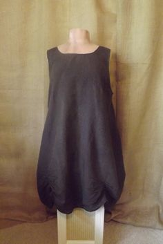 Lagenlook Linen Ruched Hem Tunic long Dark by bluemermaiddesigns, $68.00