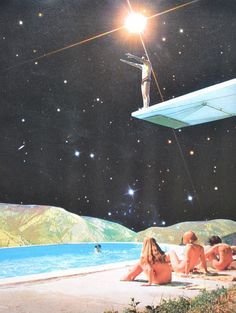 French artist Djuno Tomsni imagines the perfect summer vacation in outer space with his hand-made collages from vintage holiday brochures and photo albums.