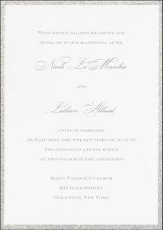 Nicole and Latham #White #WeddingInvitation with a #silver #glitter border @foreverfriends_  created. #Wedding #Invitations http://foreverfriendsfinestationeryandfavors.com