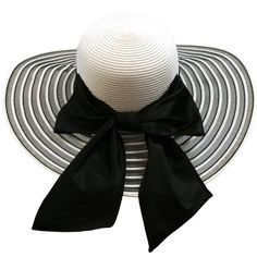 Black   White Wide Brim Circular Pattern Floppy Hat With Large Satin Bow  Sombreros 50c8656d2a4