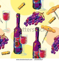 Seamless pattern with wine glasses and bottles, corkscrew, grapes, cork. Perfect for wallpapers, pattern fills, web page backgrounds, surface textures, textile