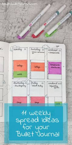 Creative Organization: weekly bujo spreads for inspiration. Love the time tracker idea on this one. 11 weekly spread ideas for the bullet journal Bullet Journal Inspo, Bullet Journal Time Tracker, Bullet Journal Planner, Organization Bullet Journal, Bullet Journal Spread, Bullet Journal Layout, Organization Ideas, Bujo, Album Scrapbook