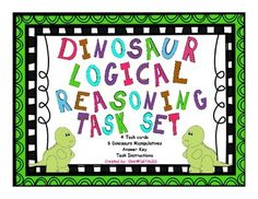 FREEBIE Set Task cards 6 Dinosaurs ManipulativesAnswer KeyTask InstructionsTeacher Instruction If you like this set, check out my Logical Reasoning Full Set in my TPT store. 6th Grade Ela, First Grade Math, Dinosaur Activities, Math Activities, Math Teacher, Math Classroom, Logic Puzzles, Math Place Value