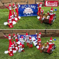 These sporty scout elves are cheering for #ScoutElfReturnWeek! | Elf on the Shelf Ideas