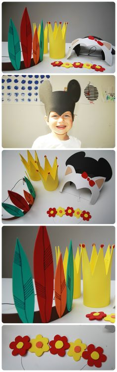 Masky z pěnovky. Stačí je vystihnout, slepit lepidlem, dokreslit fixou.  Masky na karneval, masky na dětský den, masky pro děti.