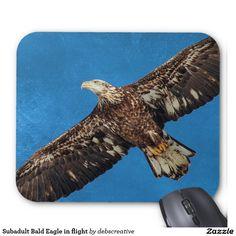 Subadult Bald Eagle in flight Mouse Pad