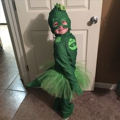 My daughter wanted to be gekko from PJ Masks, so I girled it up. Adding a bow, tutu, and some bling to a store bought boys costume. #pjmasksgekko