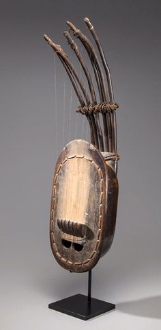 Africa | Guitar from Cameroon | Wood, animal hide, metal and fiber