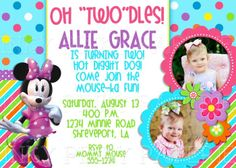Fun Girly Minnie Mouse Birthday Party Invitation 1500 Via Etsy 2nd Wording