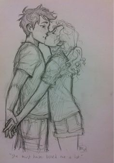 Also, he was reluctant to share his one clear memory: Annabeth's face, her blonde hair and gray eyes, the way she laughed, threw her arms around him and gave him a kiss whenever he did something stupid. She must have kissed him a lot, Percy thought. *adds to plethora of percabeth kisses in sketchbook* i've been getting a LOT of messages saying that i've been neglecting percy (and friends), so i sketched this out at work when i had some spare time. c:
