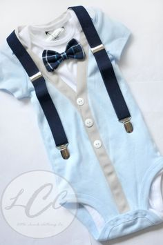 Adorable blue Cardigan bodysuit with suspender option and plaid bowtie ...Great for photos and gifts or everyday