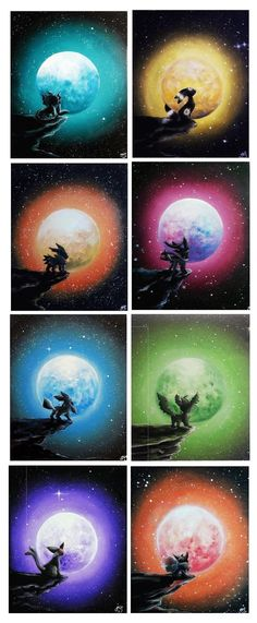 Eeveelutions staring into the far horizon watching the large luminous moon catch their colors as they exchange places. painted on a 24x30cm canvas each. (40x40cm as a set). acrylic painting pokemon art #pokemon #eeveelutions #espeon #vaporeon #leafeon #umbreon #eevee #sylveon #glaceon #jolteon #flareon