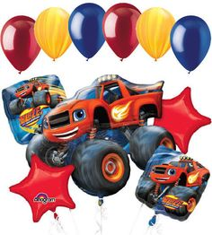 """Included in this bouquet: 7 Balloons Total 1 – 18"""" """"Happy Birthday"""" Blaze & the Monster Machines Square Balloon 1 – 18"""" Red Star Balloon 5 - 12"""" Mixed Latex Balloons (Yellow, Blue Agate, Orange, Yello"""
