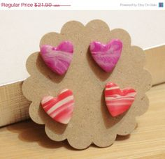 ON SALE Heart Earrings Studs Valentain's Day Gift by ColorSquare, $19.71 Heart Earrings, Stud Earrings, Gingerbread Cookies, Studs, Polymer Clay, Valentines, Trending Outfits, Unique Jewelry, Board