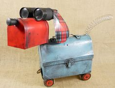 robot dog assemblage  PENDLETON  recycled by reclaim2fame on Etsy, $249.00