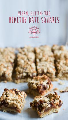 These Vegan, Gluten-Free, Healthy Date Squares are a Canadian dessert classic, perfect for celebration Canada Day with your friends and family. Healthy Dessert Recipes, Healthy Desserts, Vegan Gluten Free, Gluten Free Recipes, Vegan Dating, Date Squares, Date Recipes, Vegan Treats, Low Sugar