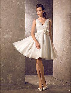 A-line Princess V-neck Knee-length Tulle Wedding Dress (7107... – USD $ 119.99