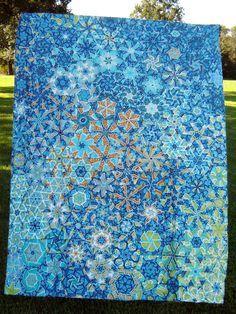 One Block Wonder Quilt Top - Marci Girl Designs One Block Wonder, Quilting Projects, Quilting Designs, Quilt Design, Quilting Ideas, Millefiori Quilts, Kaleidoscope Quilt, Blue Quilts, Scrappy Quilts