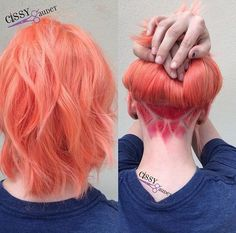 Coral hair with insane pink undercut design - I'll get a new job if it means my hair can look this cool at a moment's notice