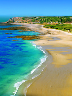 St Ouen's Bay in Jersey, Channel Islands looks even more beautiful from the sky #EscapeToJersey