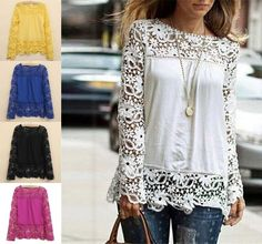New Fashion Women Sheer Sleeve Embroidery Top Blouse Lace Crochet Chiffon Shirt  #New #Blouse #Casual
