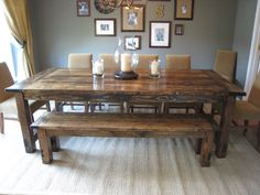 About Farmhouse Dining Table With Bench Decorating Interior With Millions Images As Ideas . Find Farmhouse Dining Table With Bench And Others About Table Here - Interior Home Design Decor, Home Diy, Home, Farmhouse Dining Room Table, Rustic Dining Table, Dining Room Table, Sweet Home, Furniture, Home Projects