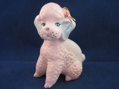 Vintage Ceramic Pink Blue Poodle Figurine Hench En Made in Mexico 5""
