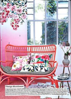 Designers Guild Trailing Rose wallpaper as featured in Marie Claire Maison, France