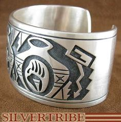 Native American Hopi Indian Jewelry George Phillips Authentic Sterling Silver Bear Bear Paw Pottery Bracelet AS18534