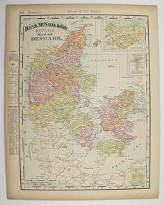 Vintage Denmark Map Iceland Antique Old Original 1896 Unique Travel Gift Under 20 Christmas Gift for Home Wedding Prop Anniversary by OldMapsandPrints