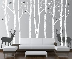 Birch Tree Winter Forest Set Vinyl Wall Decal #1161 - InnovativeStencils
