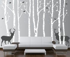 Birch Tree Winter Forest Set Vinyl Wall Decal #1161 - InnovativeStencils