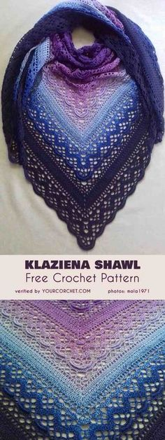 Shawl Patterns 56717276543001775 - Klaziena Shawl Free Crochet Pattern Source by camillesaubesty Crochet Shawl Free, Pull Crochet, Crochet Shawls And Wraps, Love Crochet, Crochet Scarves, Crochet Clothes, Crochet Stitches, Lace Shawls, Crochet Summer
