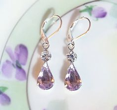Vintage Lavender and Diamond Cut Swarovski Crystal Rhinestone Drop Earrings Purple Earrings Gift Idea Wedding Prom Holiday Party. $16.95, via Etsy.