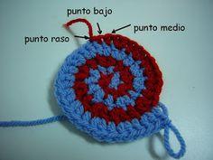 Cómo hacer Espirales con dos colores a Ganchillo Tutorial en Español