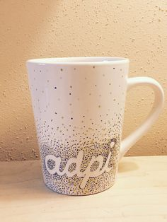 """ADPi mug is only $6! This alpha delta pi, or """"adpi"""" mug is handmade and made to order. Great gift for a Little Diamond sister, bid day, initiation, or just because!  The dot art is ombre, with royal blue, silver, and gold dots."""