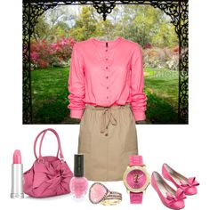 Pink Floral, created by mandeerose on Polyvore