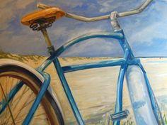 Beach Bike Amazon fine art beachy decor original oil on canvas by American artist Linda Ramsay - Jersey shore art - fun colorful vivid bright beach bicycle