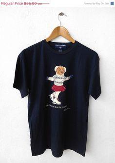 36567b6438 1990 s Vintage POLO Bear RALPH Lauren Ski Blue Hip Hop T Shirt Size M 90 s