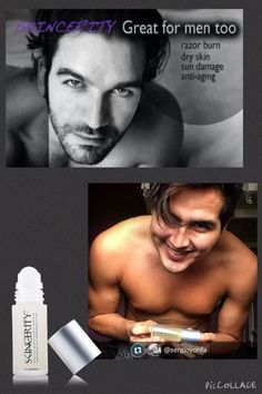 Our products are unisex! No frilly scents. Great for aftershave. Men love to exfoliate using our Advanced Exfoliator. Make up artists love applying to men before a photo shoot.