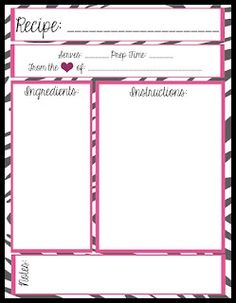 HOME ORGANIZER: RECIPE PAGES ~ eliza ellis | Meal Planning ...