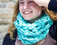 Light Blue/ Teal, Thick one loop scarf