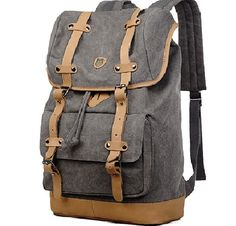 Main Material: Made from durable sturdy canvas Bottom & Straps: Top-Grain Genuine leather Size: W: Interior: Cell Phone Pocket, Interior Zipper Pocket Exterior: Solid Bag Style: Rucksack Backpack, Laptop Backpack, Travel Backpack, Leather Backpack, Travel Bags, Vintage Backpacks, School Backpacks, Canvas Leather, Travel Accessories