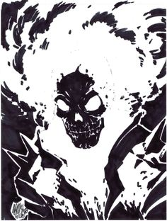Ridin' Ghost In Ink by Jeffrey Cruz Blue Ghost Rider, Ghost Rider Marvel, Comic Books Art, Comic Art, Ghost Raider, Character Art, Character Design, Weird Art, Ink Illustrations