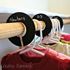 Nursery Closet Dividers - Chalkboard clothes dividers for a nursery closet Nursery Room, Baby Room, Child's Room, Girl Nursery, Nursery Inspiration, Nursery Ideas, Bedroom Ideas, Closet Dividers, Baby Clothes Dividers