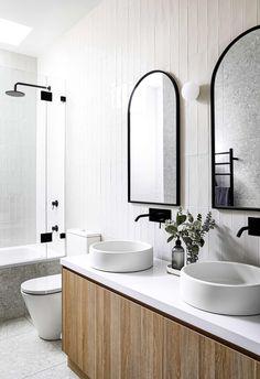 Timber Bathroom Vanities, White Subway Tile Bathroom, Bathroom Mirror Design, Timber Vanity, White Wall Tiles, Modern White Bathroom, Bathroom Basin, Bathroom Interior Design, Best Tiles For Bathroom