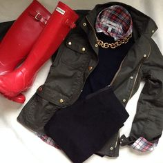 Fall Layers // j.crew (shirt, sweater, jacket, pixie pants, necklace) / hunter (boots) //