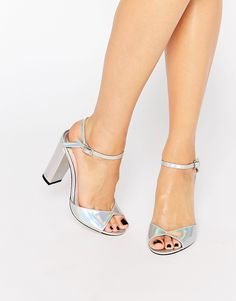 3648c22c4 Faith Lenny Iridescent Block Heeled Sandals at asos.com